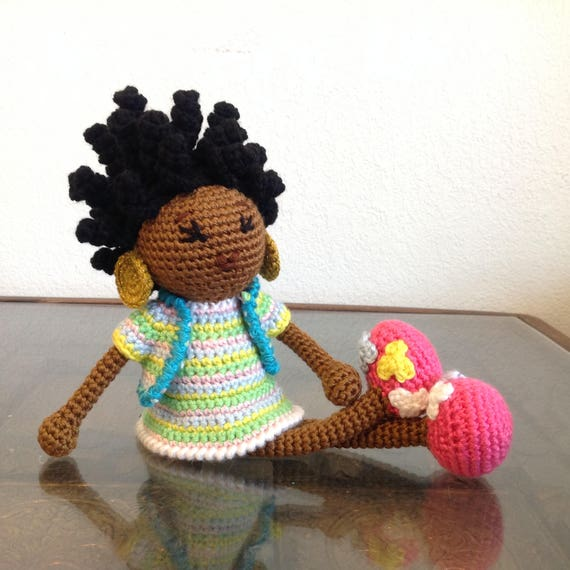 READY TO SHIP - Crochet African Princess and the Pea Doll in Spring Colors Plush Dreads Locks Natural Black Hair Stuffed Toy Baby Girl Gift
