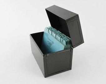 Vintage Industrial Metal Storage File Box - Military Green Storage Bin - Industrial Decor Office Organizer with Alphabet Dividers