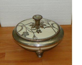 Antique Deco Trinket DRESSER BOX Porcelain silver overlay Deusch Wuerttemberg Hertel Jaques Bavaria Germany