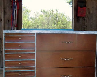 1940s Living Art hand crafted dresser with mirror by Olive  Meyers Spalti mfg co Athens Texas smaller 6 draw all wood