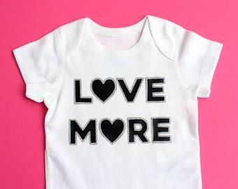 Black and Silver Glitter LOVE MORE Baby Bodysuit - Range of Sizes