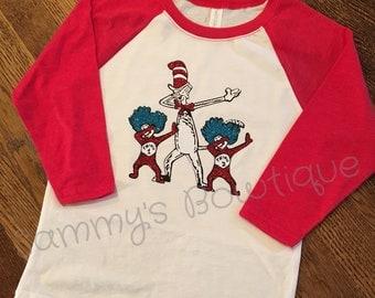 Dr. Seuss dabbing raglan! Girl's and women's 3/4 sleeve raglan shirt. Dr. Seuss shirt, read across America shirt. Fun Dr. Seuss shirt.