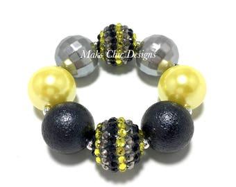 Toddler or Girls Black, Yellow and Silver Chunky Bracelet - Super Hero Bracelet - Girls Halloween Chunky Bracelet - Bumble bee bracelet
