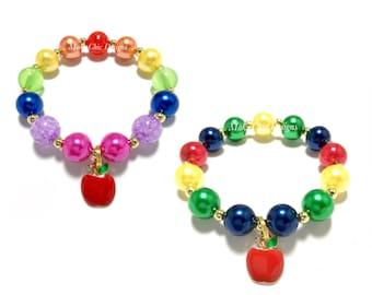 Toddler or Girls Small Beaded Apple Charm Bracelet - Back to School Bracelet - Teacher bracelet - Rainbow Apple Bracelet - Kindergarten