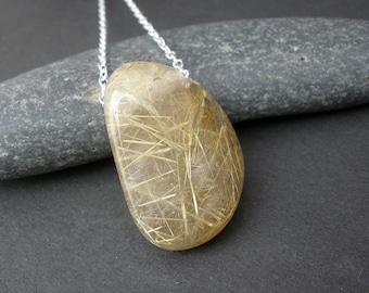 Golden Rutilated Quartz Pendant Necklace, 925 Sterling Silver, Golden Rutilated Quartz Raw Polished Stone Pendant (GD22)