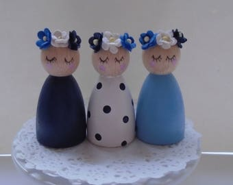NEW*** Hand Painted Wooden Peg Doll Set - Blue