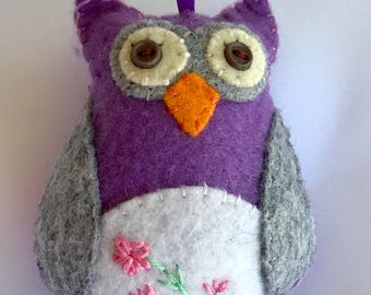 Hand embroidered Owl Ornament, Felt Owl, Purple Hanging Felt Owl, Wool Felt Ornament, Owl Car Charm, Owl decoration