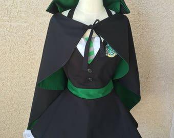 Harry Potter costume apron dress w/cape