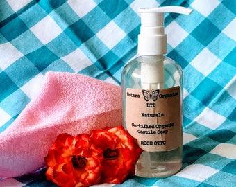 Rose Castile Liquid Soap, Rose Soap, Liquid Castile Soap, Liquid Soap, Certified Organic Soap, Liquid Hand Soap, Liquid Shower Soap, Rose