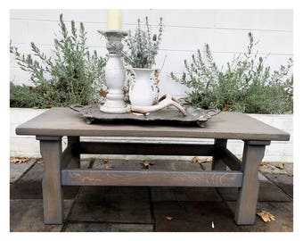 Refinished Grey Stained Oak Coffee Table