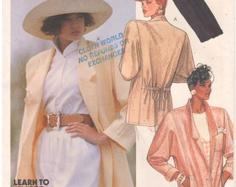 1987 - McCalls 2914 Vintage Sewing Pattern Size 14 Bust 36 Unlined Blazer Jacket Loose Drawstring Back Notch Collar Rolled Sleeves