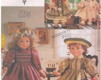 "1998 - Vogue 9965 Sewing Pattern Craft Doll Collection 18"" Doll Clothes Wardrobe Linda Carr Party Dresses Ruffles Gathers Buttons Fancy"