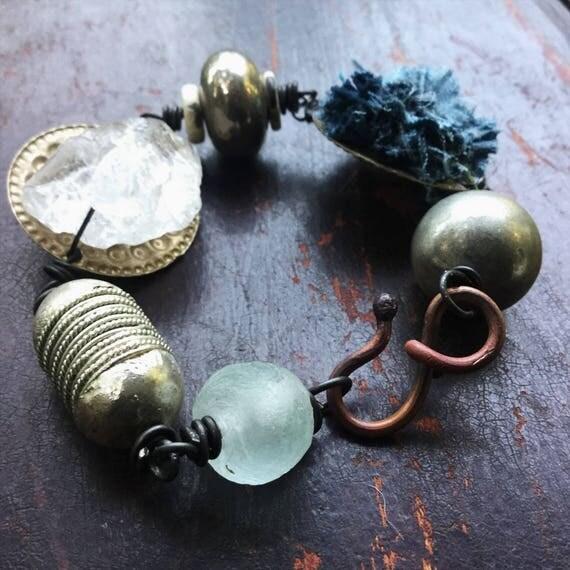 Raw crystal and kuchi turkoman bracelet   quartz bracelet, raw stone bracelet, boho jewelry, quartz crystal, rustic bracelet