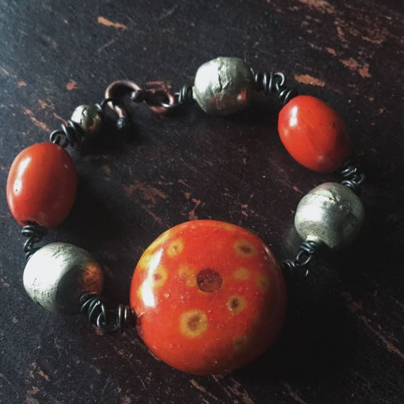 African bead bracelet   large silver beads, African silver beads, amber resin beads, orange beads, ethnic tribal, boho gypsy, boho bracelet