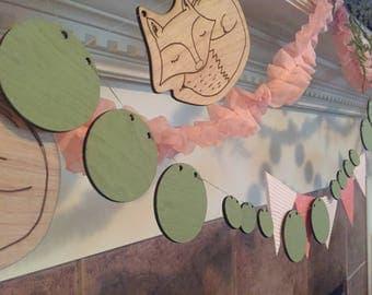 wood circle garland, wood garland, nursery garland, arrow, party garland, holiday garland, banner, wood
