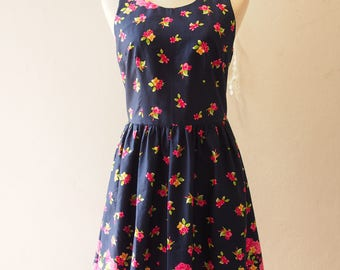 Navy Vintage Sundress Summer Dress In the Wonderland Cut Off Back Backless Dress Cute Sweet Sexy Tea Party Dress