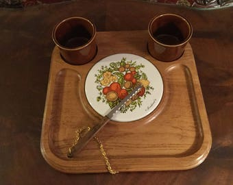 Vintage GOODWOOD AUTMN HARVEST Cheese Server, 2 Condiment Cups, 1 Serving Knife on Chain