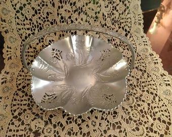 Vintage HAMMERED ALUMINUM Cutwork Handled BASKET