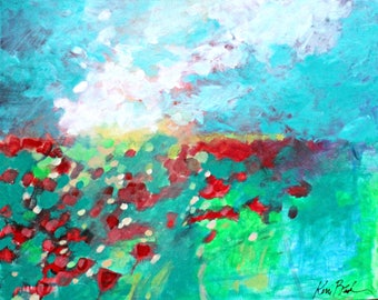"Abstract Landscape Painting, Colorful Sky Floral, Red Poppies, ""Open to All the Possibilities"" 20x16"""