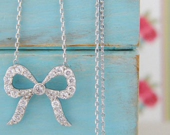 SALE Silver Crystal CZ Bow Necklace
