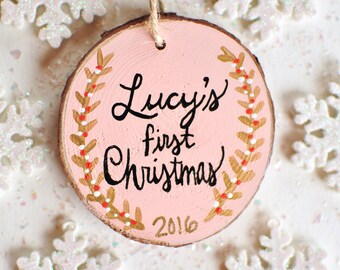First Christmas Ornament Baby, Personalized Ornament, Baby Girl Ornament, Pink Ornament, Hand Painted Ornament, Wood Ornament, Baby Keepsake
