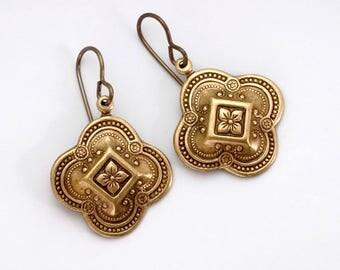 Antiqued Silver Earrings, Silver Dangle Earrings, Quatrefoil Earrings Nickel Free, Antiqued Brass Earrings, Filigree Drop Earrings, Abbie