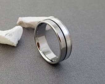 Sterling Silver and Titanium Wedding Ring, Mens Wedding Band, Women's Ring, Black Pinstripe, Custom Engraving, Engagement Ring, Anniversary