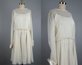Vintage 1980s Dress 80s Ivory White Chiffon Dress by Morton Myles Size M