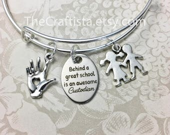 CUS, Custodian Bangle, School Custodian Gift, Custodian Jewelry, Custodian Charm, Kids Charm, Custodian Gifts, School Staff, Custodian Gift