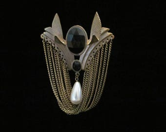 Vintage Art Deco Brooch Pin Oversized Roaring '20s Style Chains Wings Faux Pearl Brasstone Metal Costume Jewelry Statement Piece