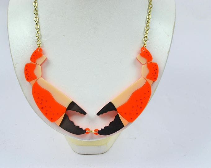 Sugar and Vice Crab Claw Acrylic Laser Cut Statement Necklace Cancerian