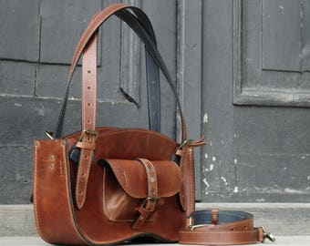 MINI Version - Leather Handmade Coniaque Brown Shoulder Bag - Ultimate Edition