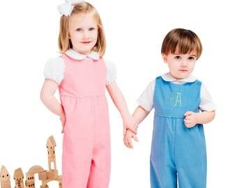 Childrens Corner / Paulie / Childs Romper / Boys / Girls / Cropped Pants / Long Pants / Buttons on shoulder / Pattern 244
