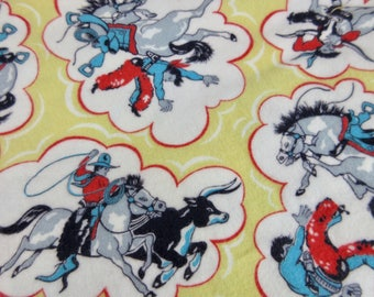 Vintage 1950s Cotton Flannel, Cowboy Print Fabric, Yellow Cowboys