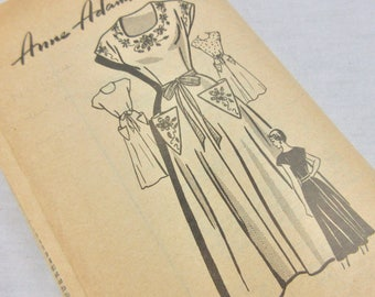 Vintage 1940s Dress Sewing Pattern, Anne Adams Instructor 4965, Sz 16