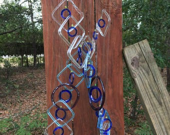 PURPLE lt BLUE square double helix DNA wind chime from bottles eco friendly garden decor, wind chimes, mobiles, musical, windchimes handmade