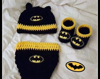 On Sale Batman Baby Photo Prop Set With Diaper Cover Hat And Booties Batman Baby Shower Gift Size Newborn Handmade Crochet Made to Order