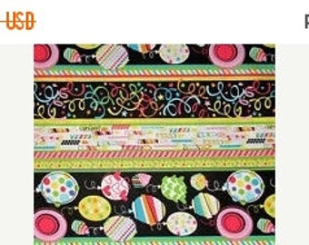 ON SALE Balloons, Birthday Party Fabric, Candle Fabric, Balloon Fabric, Birthday Favors, 01907