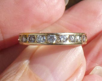 Classic Channel set  Diamonds stacker ring in 14KT yellow gold  Wedding band 88 points of diamonds  Stacker band