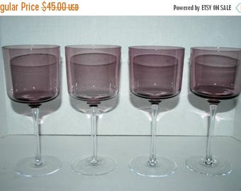 weekend sale Vintage purple  wine glasses set of 4  retro barware  long stemed  cocktail glasses