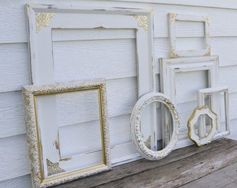 Set of 7 Open Frames - White and Gold - Wall Gallery - Nursery - Wedding - Vintage Frames - Frame Set - Scatter Frames - Oval Frame -Shabby
