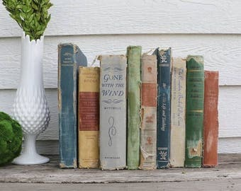 Set of 9 Vintage Books - Antique Book Decor - Photo Props -Wedding Decor- Gone With the Wind - Grey, Blue, Green, Orange, Red - Rustic Books