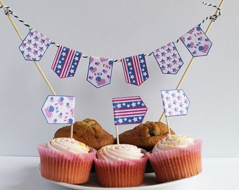 USA Cupcake Flags cake toppers Independence Day 4th July Cake Bunting Stars and Stripes thanksgiving toothpick flags Instant Download