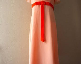 Clearance Sale Vintage Peach Chiffon Ruffle Maxi Dress