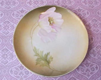 Beautiful Antique Hand Painted Porcelain Plate with Lavender Pink Poppy