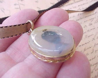 Lovely Victorian Rose Gold Filled Pendant with Moss Agate