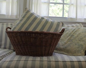vintage willow wicker laundry basket country french cottage chic farm
