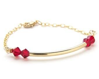 Garnet Bracelet - January Birthstone Bracelet - Gold Dainty Bracelet - Birthstone Gift for Mom - Gift Ideas for Girlfriend - Gift for Sister