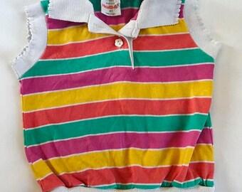 Rainbow striped knit vintage crop top 2t