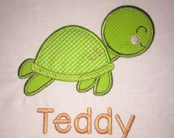 Children's Toddler Turtle with Personalized Name on a Short or Long Sleeve White T-Shirt